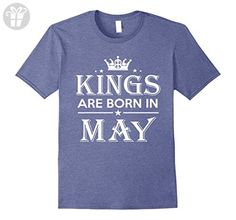 Mens Kings Are Born in May Birthday Gift Shirt Ideas 2017 3XL Heather Blue - Birthday shirts (*Amazon Partner-Link)