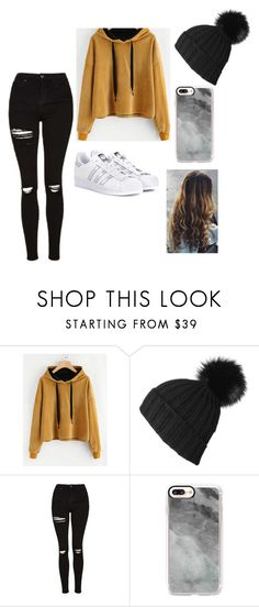 """Say Something To Me"" by keefesencen ❤ liked on Polyvore featuring Black, Topshop, Casetify and adidas Originals"