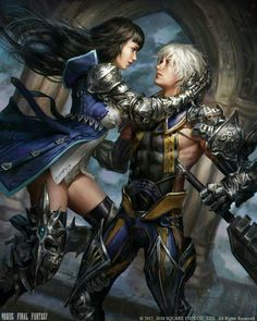 View an image titled 'A Witch's Kiss Art' in our Mobius Final Fantasy art gallery featuring official character designs, concept art, and promo pictures. Mobius Final Fantasy, Arte Final Fantasy, Fantasy App, Fantasy Series, Fantasy Girl, Fantasy Generator, Fantasy Couples, Kiss Art, Game Character Design