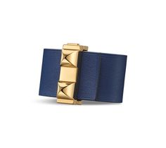 """Imprevisible Hermes leather bracelet (size S) Sapphire blue/black swift calfskin  Gold plated hardware, 2.25"""" diameter, up to 6.7"""" circumference."""
