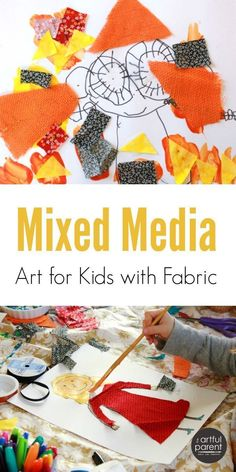 Use fabric scraps in kids mixed media art to inspire creativity! It's always fun to combine a variety of materials and techniques...