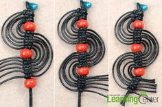 finish macrame spiral earrings