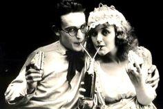 Silent film stars Harold Lloyd and Mildred Davis