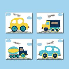 Car Nursery Lorry Nursery Baby Boy Nursery Decor Children Art Print Baby Nursery Print Boy Art set of 4 Auto Truck Blue Gray Orange Boy Nursery Colors, Car Nursery, Yellow Nursery, Nursery Art, Baby Wall Decor, Baby Boy Nursery Decor, Baby Boy Rooms, Baby Boy Nurseries, Baby Prints