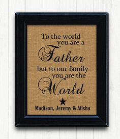 Fathers Day From Kids Father Gift Burlap Print DAD Birthday Unique Dad Idea New