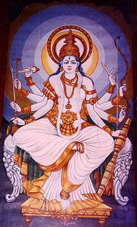 Painting of Mahasaraswathi In Vajreshwari Temple, Kangra, India.