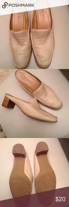 Genuine leather slip in loafer style mule shoes Excellent almost new condition. Bitter soft genuine leather in a neutral color that matches all colors. 2 inch wide stack heels flex soles, padding innersoles. These casual shoes have everything. Nine West Shoes Mules & Clogs