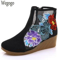 Wegogo New Women Boots Springs Summer Hollow Butterfly Embroidered Shoes Original Cloth Canvas Floral Fashion Boots