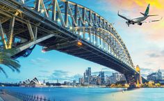 Passenger Airplane Over Sydney jigsaw puzzle Puzzle Of The Day, Airline Tickets, Sydney Harbour Bridge, Ways To Save, New Zealand, Jigsaw Puzzles, Aviation, Australia, Travel