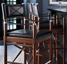 Borneo Campaign Bar Stool would look fabulous in our home pub/media room! Borneo, French Bistro Kitchen, White Dining Room Chairs, Home Pub, Colonial Furniture, Counter Height Bar Stools, Luxury Home Decor, Decoration, Campaign