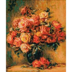 """Bouquet Of Roses After Renoir's Painting Counted Cross Stitc-15.75""""X19"""" 14 Count"""