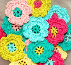 Crochet flowers by Holland Fabric House, via Flickr #afs 7/5/13