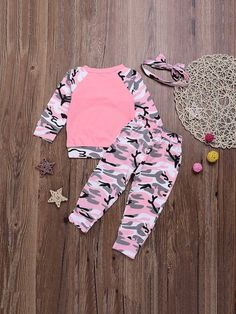 894f0b68df7d8 Toddler Girls Bow Front Camo Print Top & Pants & Headband. Family OutfitsFamily  ClothesBaby Boy OutfitsLittle Girl ...