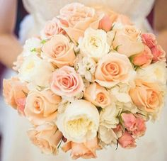 Bridal Bouquet Featuring Peach, Light Peach, Dusty Pink Roses & Ivory English Garden Roses~~ #love #wedding #lovely @hernandezva1652