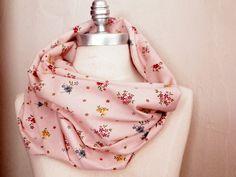 Scarf Floral Print Pale Pink  Fabric Infinity by jamiesierraknits, $20.00