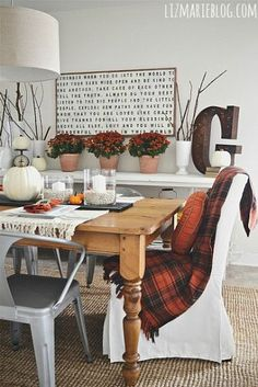 I have a similar blanket. Love the simple fall decor