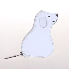Hermes Animal Dog coin purse in White Box leather Palladium hardware