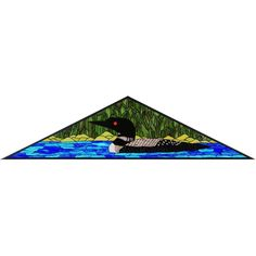 59 Inch W X 15 Inch H Loon Triangle Stained Glass Window
