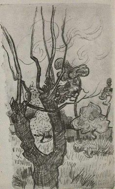 Vincent van Gogh: The Drawings. A Bare Treetop in the Garden of the Asylum. Saint - Remy, October, 1889. Van Gogh Museum, Amsterdam.
