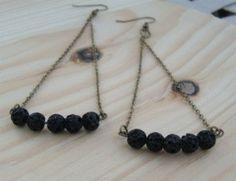 Lava Bead Triangle  Chain Earring by mercerandjayne on Etsy, $15.00