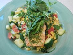 Grilled Salmon With Zucchini, Corn, Spinach and Tomatoes