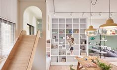 taiwanese office HAO design studio has completed the interior renovation of a apartment in kaohsiung city. Apartment Renovation, Apartment Interior, Apartment Design, Cafe Interior, Interior Design Living Room, Childrens Slides, Kindergarten Interior, Floor To Ceiling Cabinets, Open Space Living