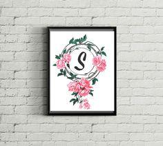 Vintage Rose Monogram Letter S Shabby Chic by OurHeartsRejoice