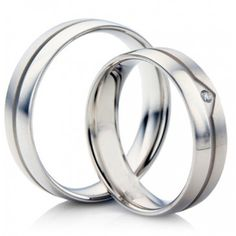 10k White Gold Satin Flat Grooved His And Her Wedding Bands 0.02 Ctw Round Diamond 5mm, 6mm 02237