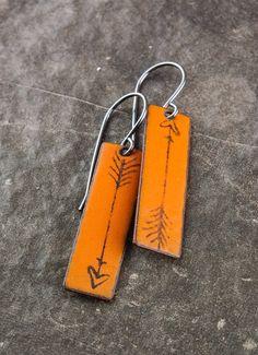 Enameled Arrow Earrings in Orange by MyBrownWren on Etsy