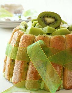 Such a fabulously fun, verdant dessert: Kiwi Charlotte. #food #kiwi #green #fruit #pastry #dessert #charlotte