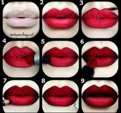 Red ombre lip tutorial
