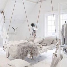 Incredible hanging bed idea in an all white bedroom with lots of cosy blankets and pillows. Perfect weekend hang-out? Hammock In Bedroom, Bedroom Loft, Bedroom Inspo, Bedroom Decor, Bedroom Ideas, Wooden Bedroom, Bedroom Chair, Bedroom Styles, Bedroom Inspiration