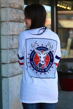 Patriotic Jersey Tee by Jadelynn Brooke {White} | The Fair Lady Boutique #deer #jadelynnbrooke #jersey
