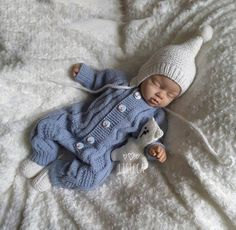 38ea987dc671 Hand knitted blue romper Knitted baby clothes Baby boy romper ...