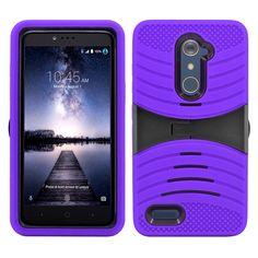 ZTE Zmax Pro / Z981 Hybrid Silicone Case Cover Stand Purple