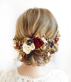 wedding hair pieces burgundy hair piece, burgundy and navy wedding headpiece, bridal headpiece, burgundy and gold headpi Flower Hair Pieces, Flowers In Hair, Burgundy And Gold, Burgundy Wedding, Hair Accessories For Women, Wedding Hair Accessories, Gold Accessories, Ivory Wedding Veils, Ivory Veil