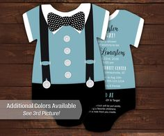 10 Bowtie Baby Shower Invitations Blue por LittleBeesGraphics