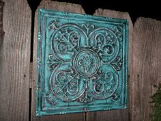 Wall Decor / Turquoise , Red / Metal Wall Decor / Wall Hanging / Shabby Chic Decor. $39.99, via Etsy.