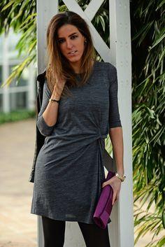 #grey dress #black biker #biker #purple clutch #streetstyle #fashion blogger #fashion street style #beroque #hermes #hermes cuff #dinner look #outfit
