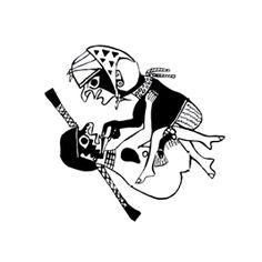 Dibujo estilo Línea Fina de un hombre sosteniendo el maxilar de una mujer. Cultura Moche. Lima, Perú | Sexualidad prehispánica