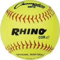 "Champion Sports Optic Yellow Syntex Cover Softballs, 12-Inch, Pack of 12:   The Champion Sports Rhino Cor Softballs feature an 12"" Optic yellow syntex cover and red stitch.47 Cork Core. They are medium compression with raised seams. NFHS approved."