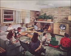 1951 Parking the Kids in the Basement . in front of the TV of interior design design house design home design Retro Room, Vintage Room, Vintage Decor, Vintage Homes, Vintage Tv, Mid Century House, Mid Century Style, Mid Century Modern Design, House Design Photos