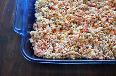 Cake Batter Rice Crispy Treats only change I made was no sprinkles the second time and instead of 1/3 vanilla cake mix I used 3/4 cherry chip, yummmmmmm seriously, I made 2 baches in one day and there's only 7 squares left. lol
