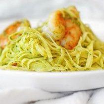 Shrimp Pasta with Cilantro Pesto