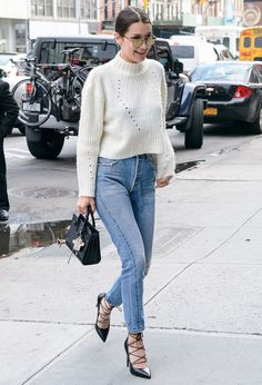 bella-hadid-street-style-denim-white-tricot-lace-up-heels