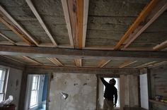 Installing soudproof insulation in ceiling