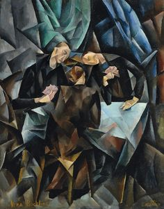 Vera Rockline (Russian, 1896-1934), The Card Players, 1919. Oil on canvas, 64 x 50.2 cm.
