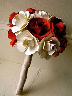Red and White Paper Rose Flower Wedding by TheLittleRedButton - These are so pretty! Great way to KEEP your wedding flowers FOREVER!!!
