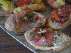 Tomato & Basil Bruschetta (I know I can't have the bread...but the tomato & basil mix sounds DELISH!!)