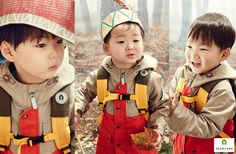 Song Minguk for Skarbarn Autumn Forest Collection 2015 Asian Kids, Asian Babies, Cute Kids, Cute Babies, Triplet Babies, Superman Kids, Man Se, Song Triplets, Song Daehan